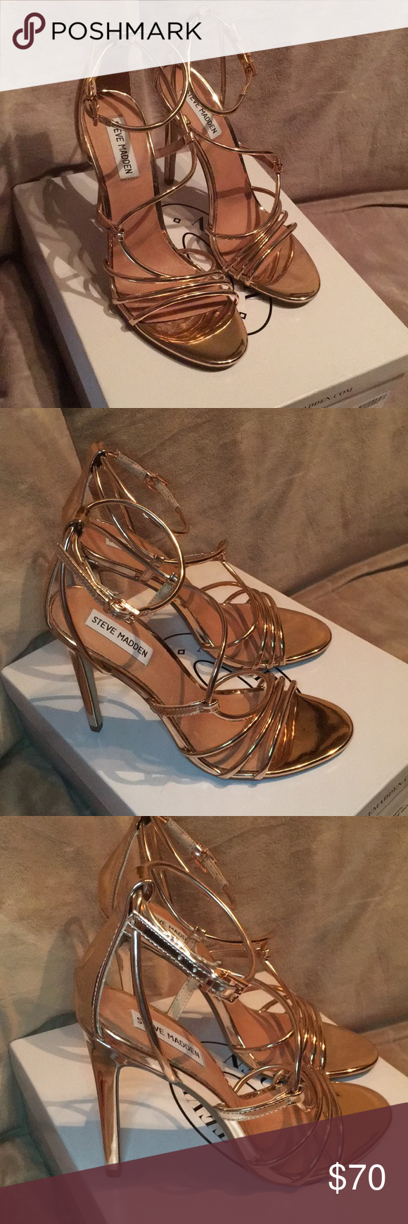 f057101693bb Steve Madden Smith Strappy Sandal Rose Gold Sz 9 the SMITH sandal features  a swirling center