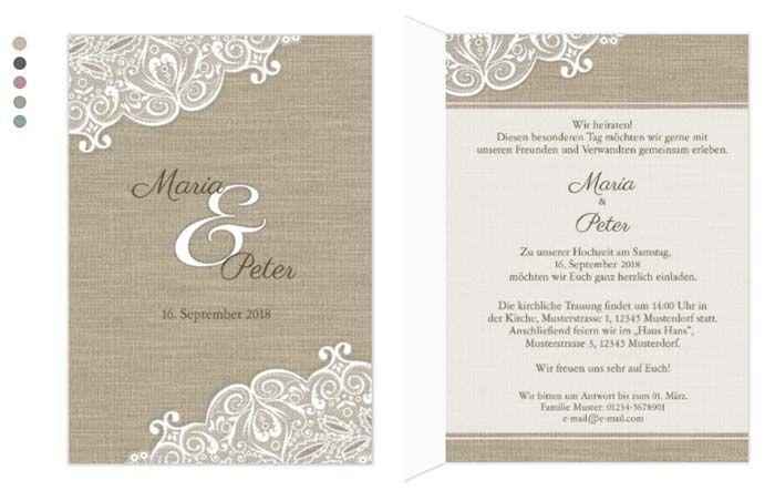 Tolle Einladungskarte In Einem Eher Schlichten Design Aufgepeppt Mit Spitze C Hochzeitsplaza