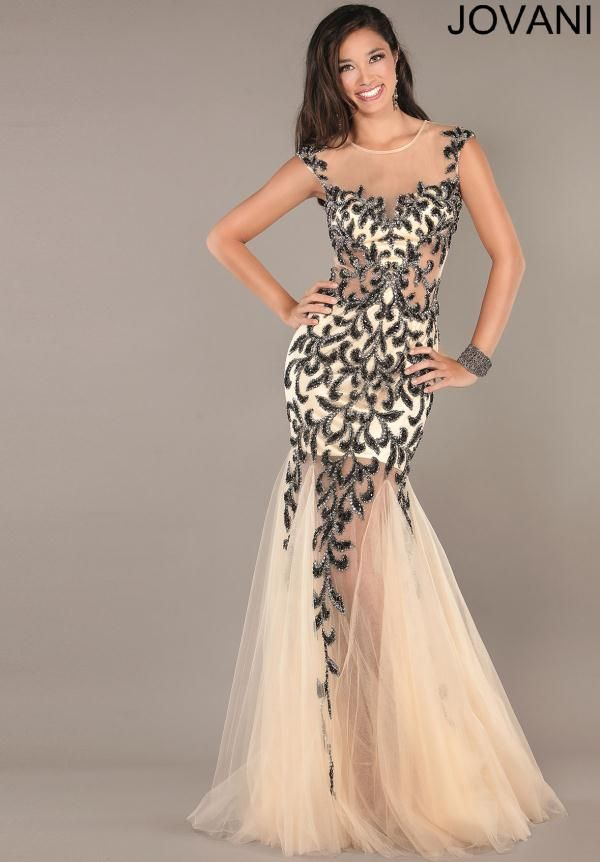 black 1920's inspired mermaid dress | Black and White Mermaid Prom ...