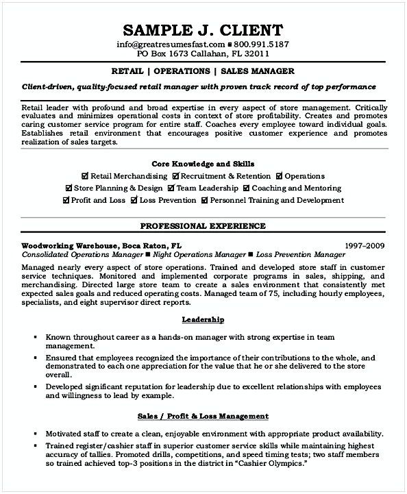 Retail Operations Manager Resume , Resume for Manager Position ...