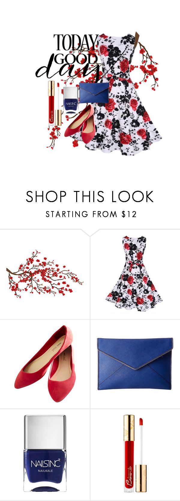 """""""Feel Good Flowers"""" by musie-della ❤ liked on Polyvore featuring Wet Seal, Rebecca Minkoff, Nails Inc., Bésame, Summer, Flowers and redandblue"""