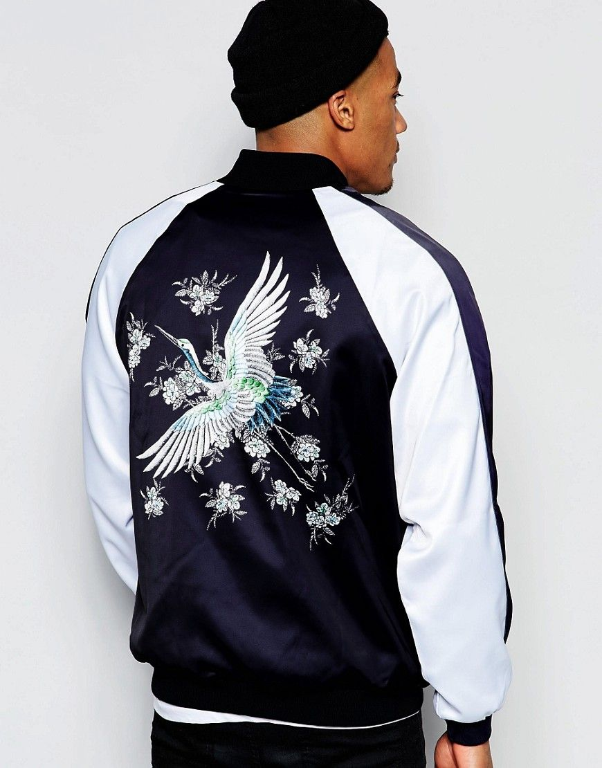 b657a4dbb Jaded London Souvenir Bomber Jacket With Bird Back Print | Jackets ...