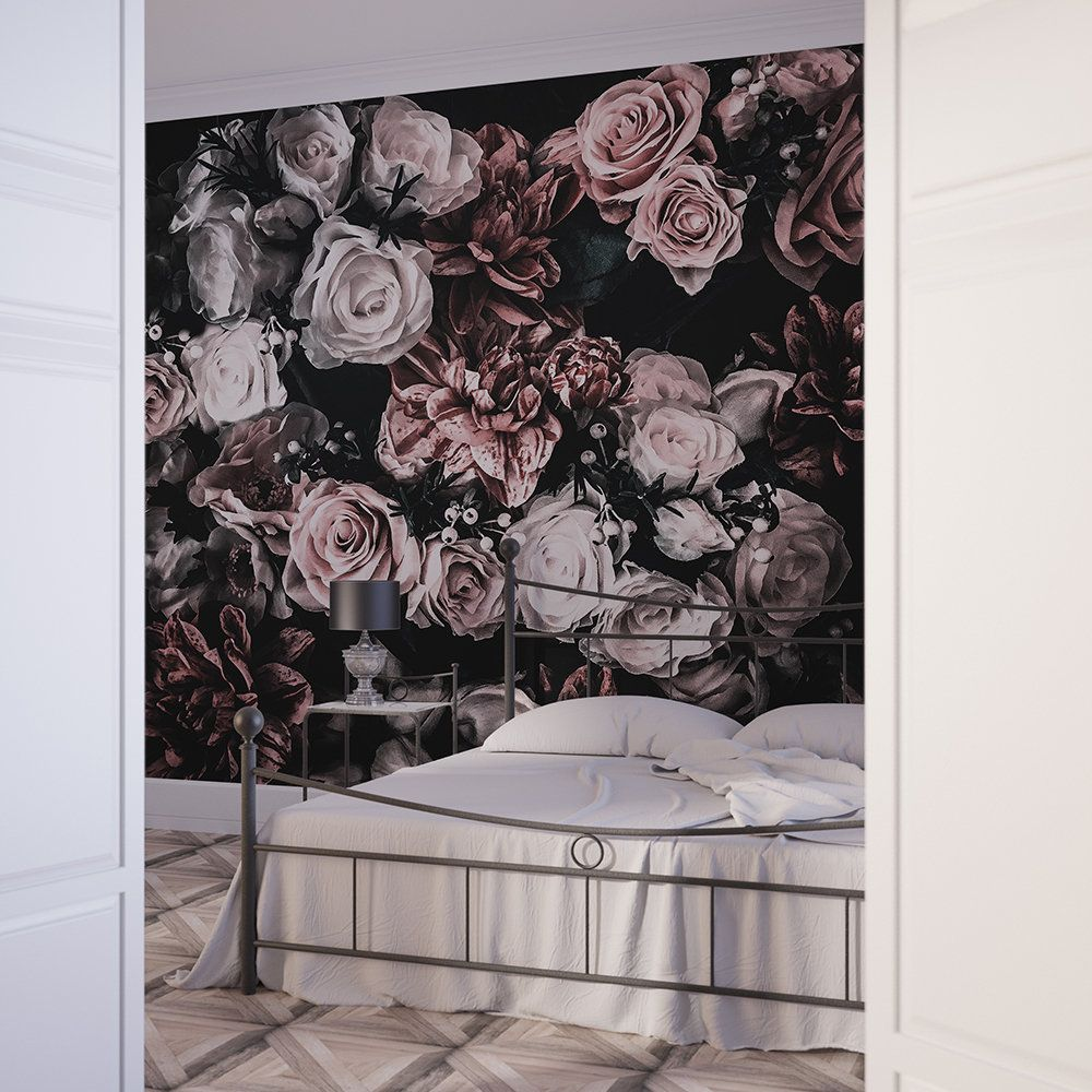 Floral Wallpaper Dark Floral Wallpaper Removable Wallpaper Self Adhesive Wallpaper Floral Wall Mural Dark Mural Peel And Stick Mural Bouquet Floral Wallpaper Bedroom Black Floral Wallpaper Floral Wallpaper