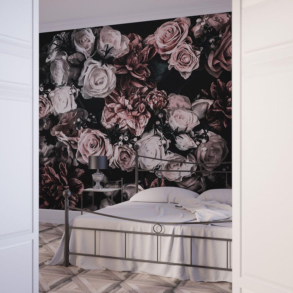 Floral Wallpaper Dark Floral Wallpaper Removable Wallpaper Self Adhesive Wallpaper Floral Wall Mural Dark Mural Peel And Stick Mural Bouquet Black Floral Wallpaper Floral Wallpaper Removable Wallpaper