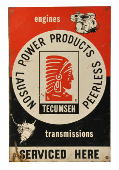 Lot 517 Tecumseh Small Engine Transmission Sign Manifest Auctions Metal Signs Tecumseh Porcelain Signs