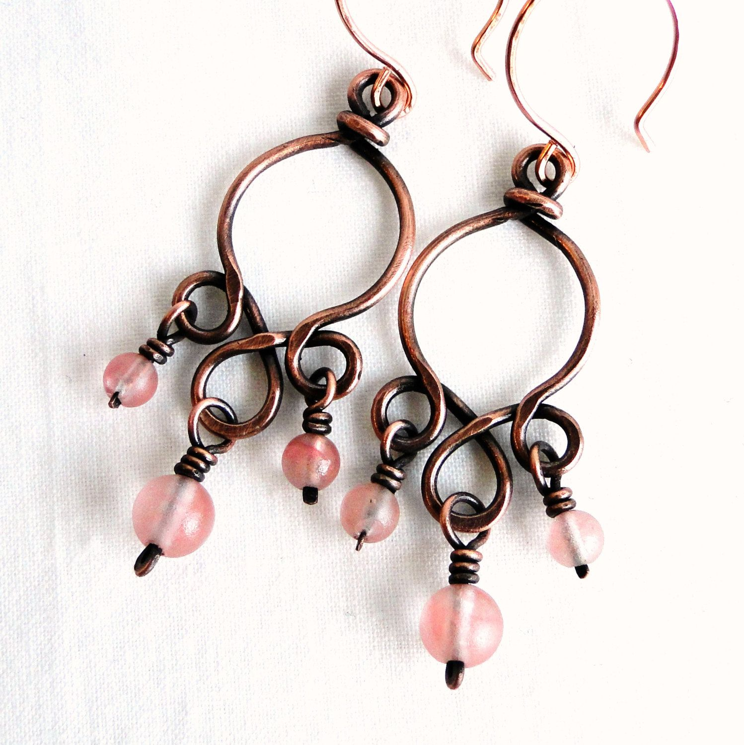 Chandelier Earrings, Pink Glass Beads, Handcrafted Jewelry, Antiqued ...