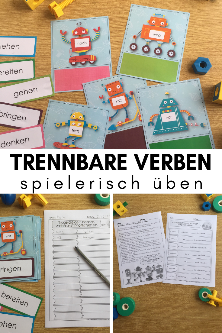Separable verbs playful exercise with story and worksheets