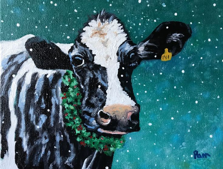 Buy Holiday Holstein Acrylic Painting By Pamela Long Cauley On Artfinder Discover Thousands Of Other Original Paintings Cow Art Cow Painting Animal Paintings