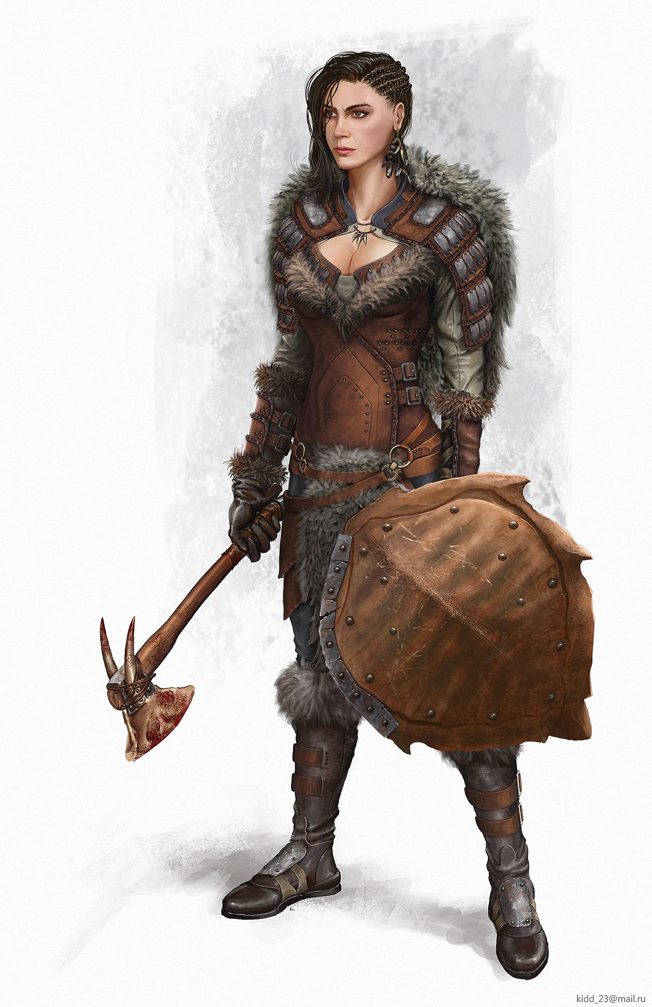 Merlara Lionheart, female warrior, female barbarian, great fur armor, skilled warrior, axe and shield, good hairstyle, rpg, dnd, D&D, fantasy world, character concept by pintrest search