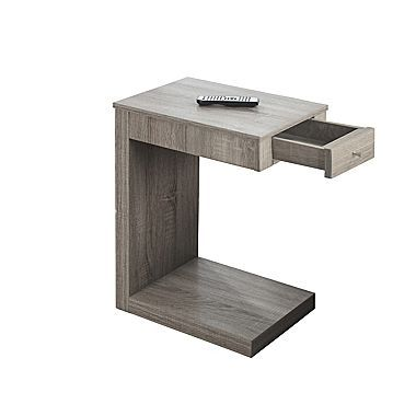 Monarch Accent Table, Dark Taupe with A Drawer