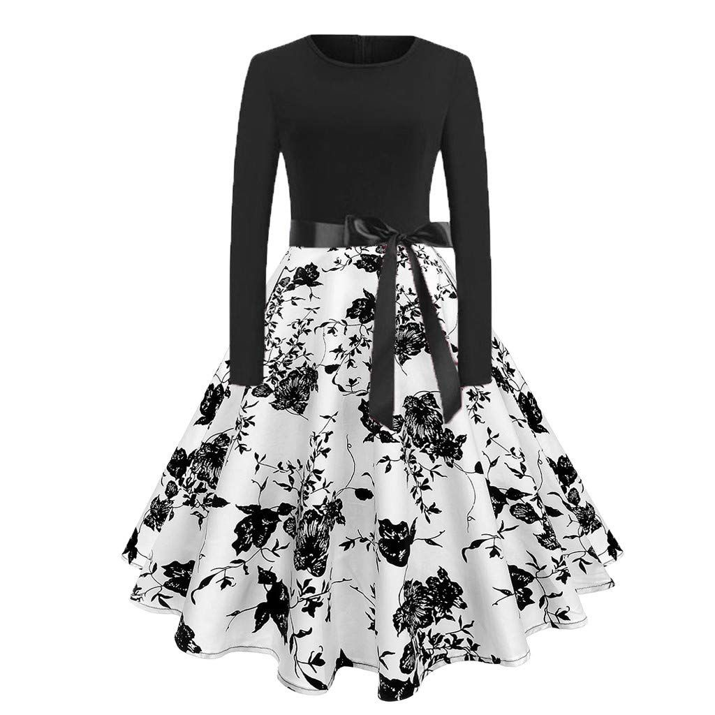 iLOOSKR Retro Fashion Women s One-Piece Dress Bow Tie Belt Printed  Long-Sleeved Skirt Dress b86945e5c