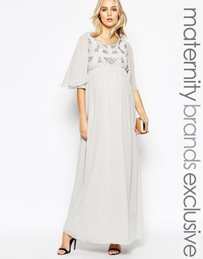 f13e193738f Maya Maternity Sequin Embellished Bodice Maxi Dress With Flared Sleeves