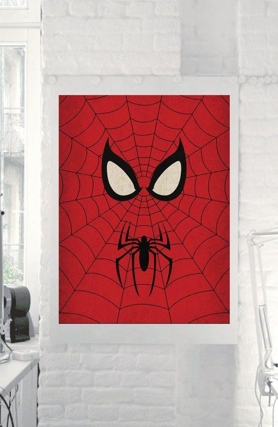 """Marvel Comic Store Superheroes Minimalist """"Spiderman"""" Art Poster"""