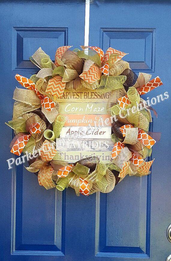 Fall Wreath Thanksgiving Wreath Harvest by ParkerGrayceAlden