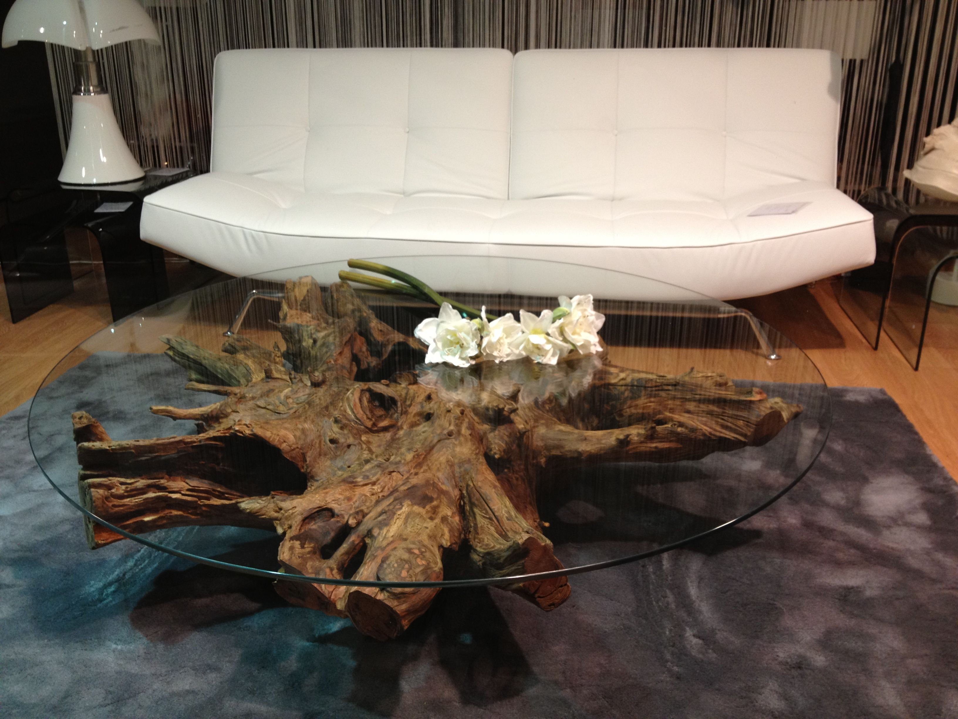 Table basse souche d 39 arbre tree roots coffee table table for Table plateau tronc d arbre