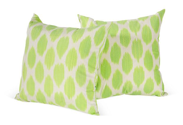 One Kings Lane - Pillows, Textiles, Furniture & Accessories - Green Ikat Pillows, Pair