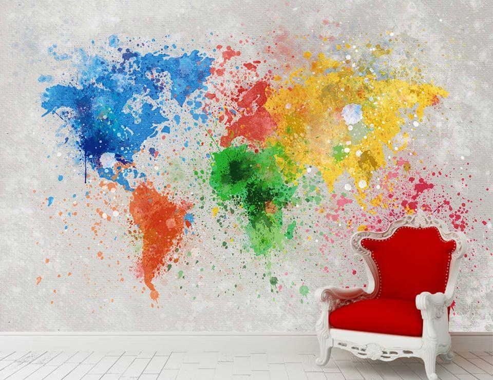 splash the world poster g ant mappemonde d co avec des claboussures de peinture d co grand. Black Bedroom Furniture Sets. Home Design Ideas