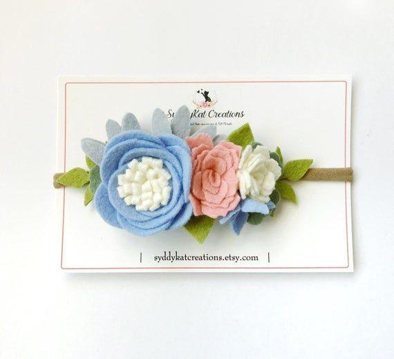Pastel Flower Crown, Felt Flower Headband, Girls Headband, Newborn Photo Prop #feltflowerheadbands