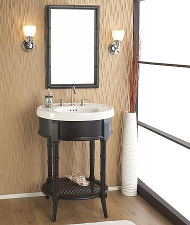 Cute Vanity For A Small Bath Love The Bamboo Accent By Www Fairmontdesigns Com Traditional Bathroom Vanity Traditional Bathroom Powder Room Renovation