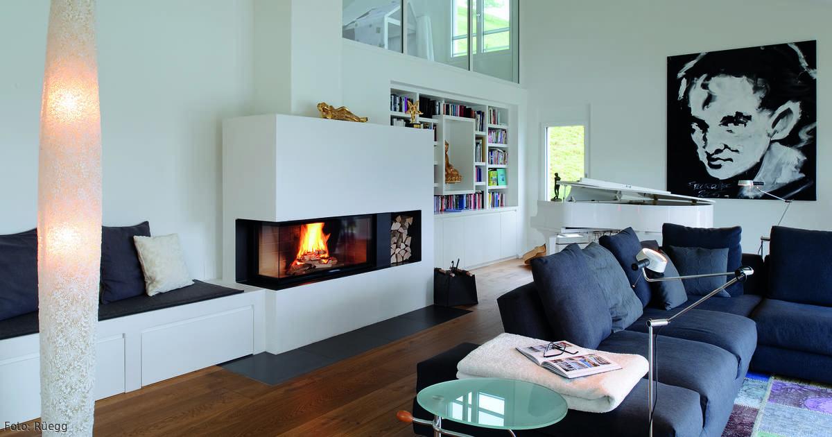 Kamin mit Sitzbank Modern and Wands - wohnzimmer gemutlich kamin
