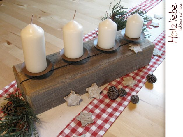 Alter Balken 4er Kerzenhalter Advent