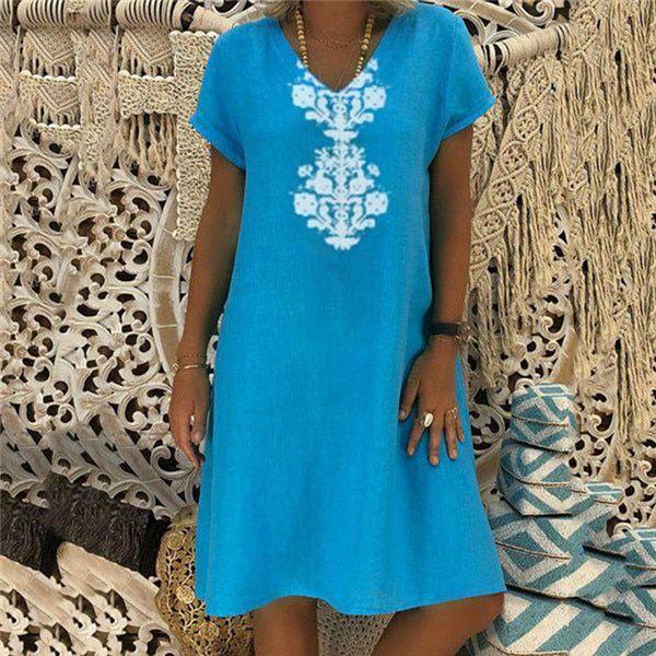 Fanbty women vintage linen dress summer shirt dress short sleeve solid casual loose party beach dress vestidos plus size #shortsleevedressshirts