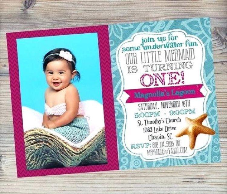Little Mermaid 1st Birthday Invitations