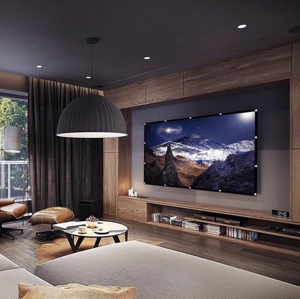 Mini Projector Screen Modern Tv Room Living Room Design Modern Living Room Tv Wall