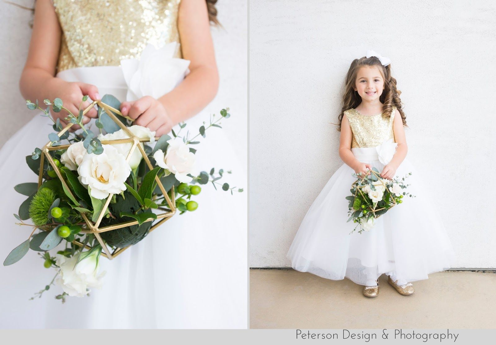 b32d06d0f8 Gold and white flower girl with geometric flower basket at this  greenery  and modern wedding at Casa 425 in Claremont