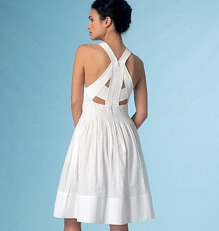 Rebecca Taylor for Vogue Patterns sundress. Pintuck bodice and strappy back. Sew V1446, Misses' Dress