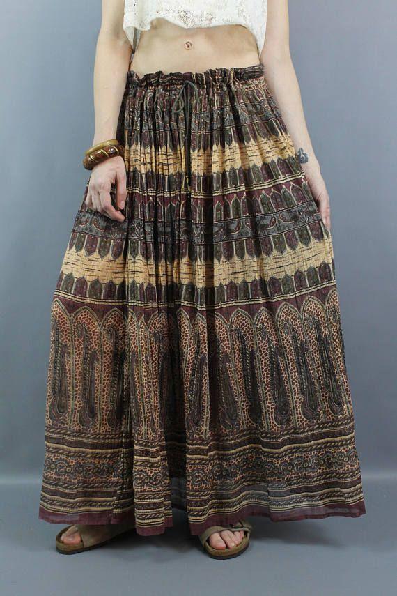 f0552fb3938 Vintage 90s does 70s Indian Cotton Gauze Hippie Boho Festival Maxi Skirt