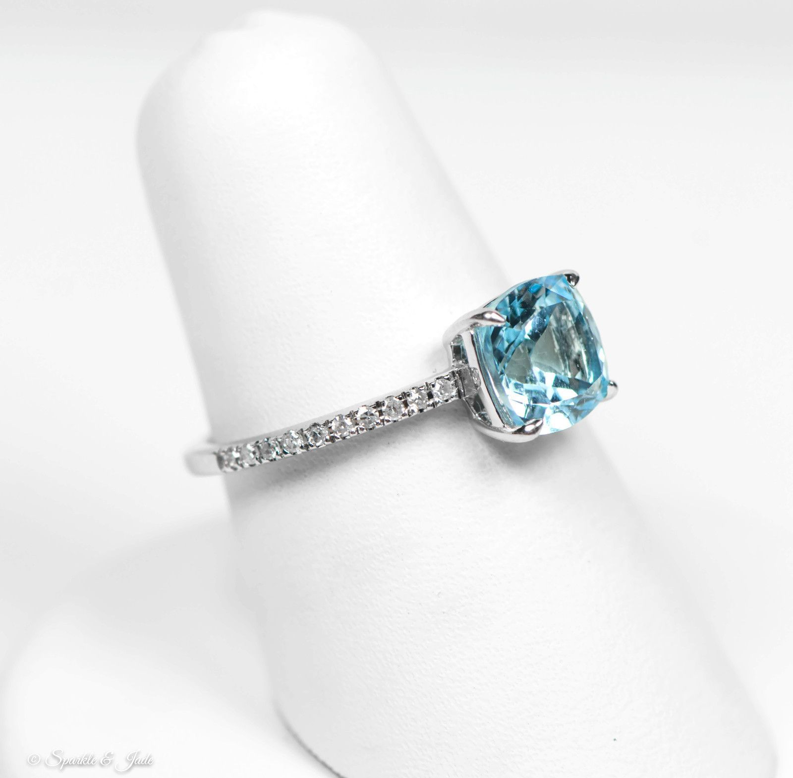 14k White Gold Diamond And Square Cushion Ice Blue Topaz Ring 20