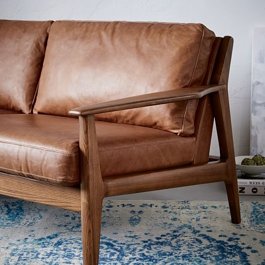 Mathias Midcentury 3 Seater Sofa, Leather, Saddle