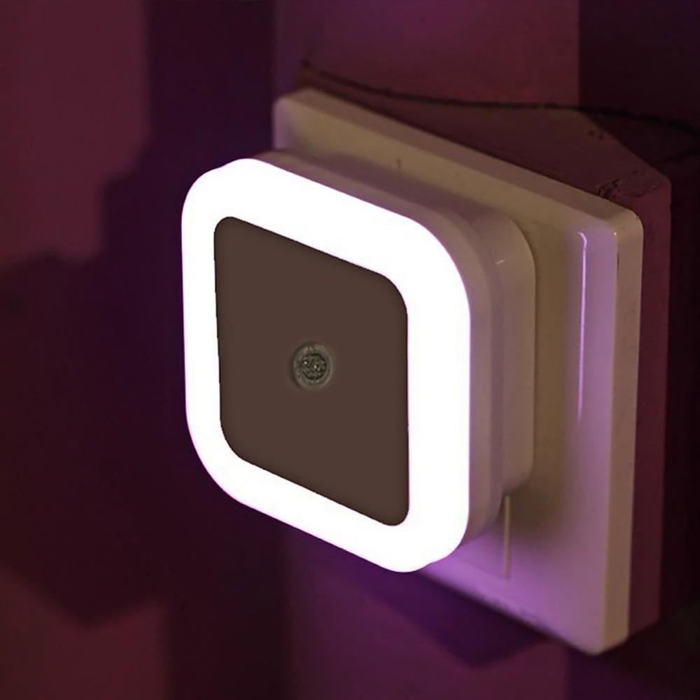 Light Sensor Control Led Night Light Mini Eu Us Plug Novelty Square Bedroom Lamp For Baby Gift Romantic Colorful Lights White Us Plu Veilleuse Led Deco Chambre