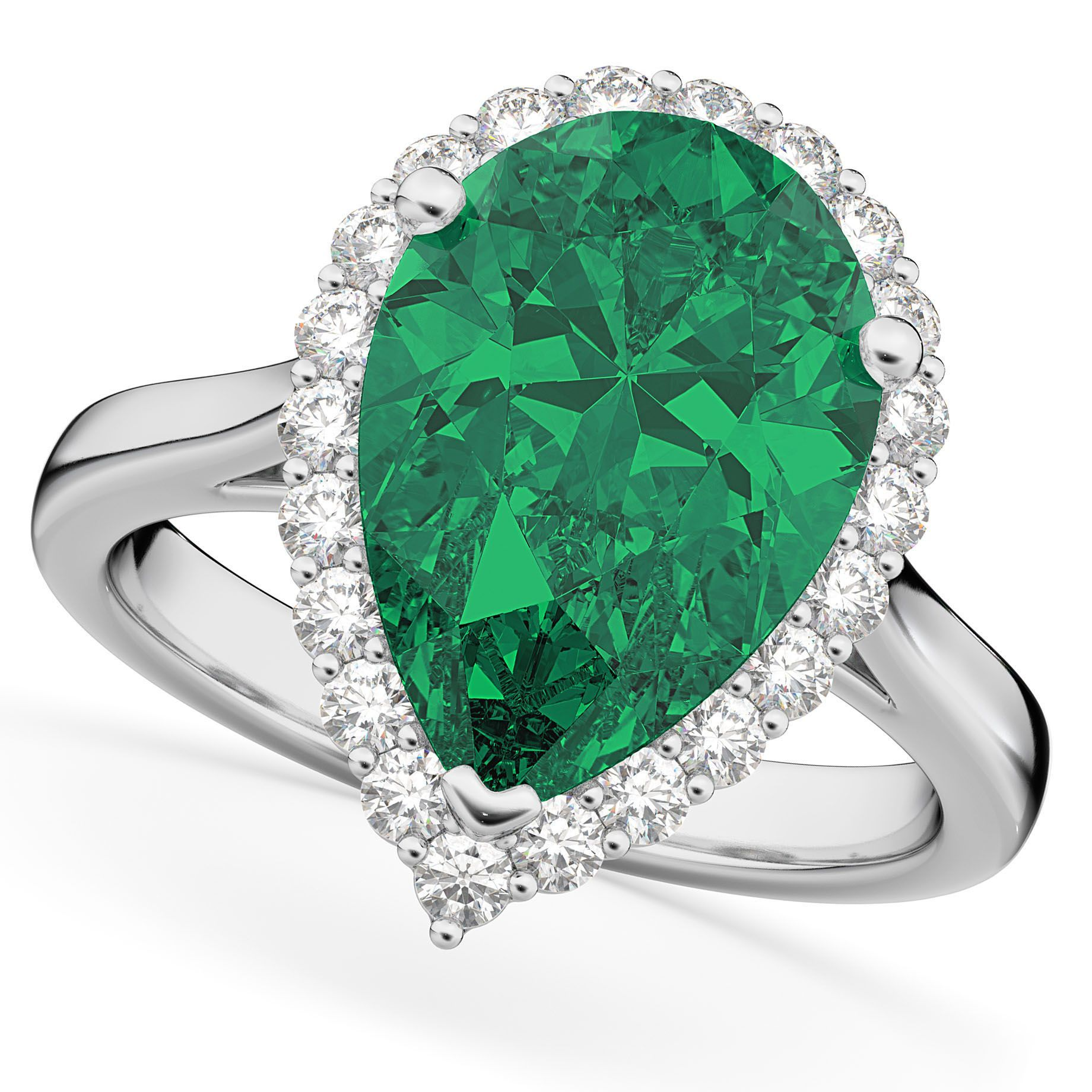 Pear cut halo emerald u diamond engagement ring k white gold