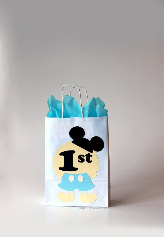 Mickey Mouse Bags For Favors Birthday Decorations Candy Buffet Goody 1st Gift Bag Blue Favor Boxes Disney
