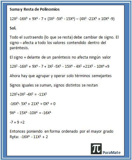 Ejercicio resuelto de suma y resta de polinomios | Algebra ...