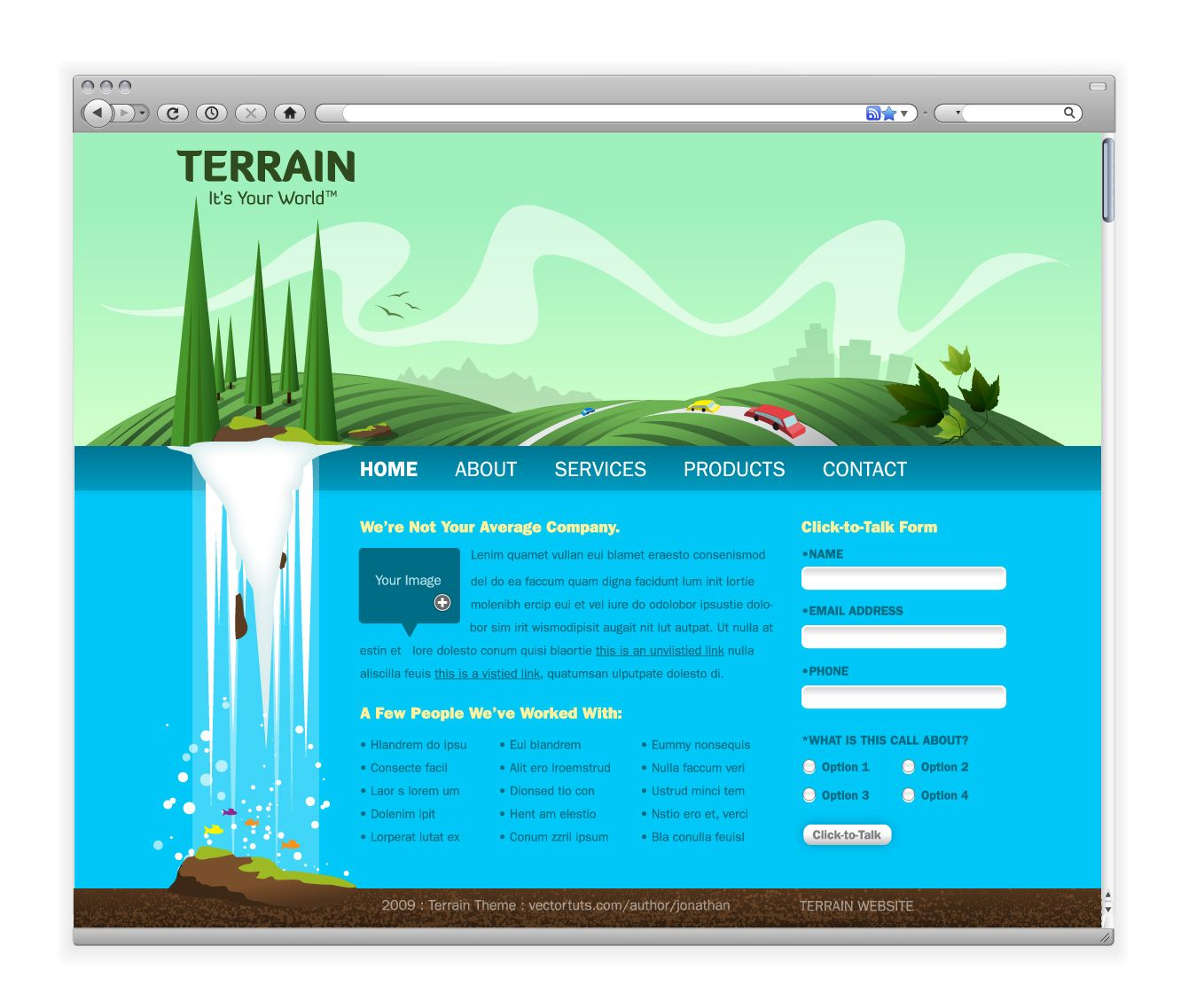 Create A Green Landscape Website In Adobe Illustrator Tuts Design Illustration Tutorial Web Design Web Layout Design Portfolio Web Design