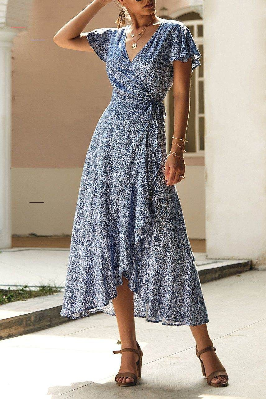 Deep V Wavy Wrap Summer Dress Summerdresses This Floaty Bohemian Style Dress Wi In 2020 Wrap Dresses Summer Cocktail Dresses With Sleeves Long Sleeve Velvet Dress