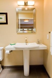 Pedestal Sink With Some Counter Space Too Top Heavy With