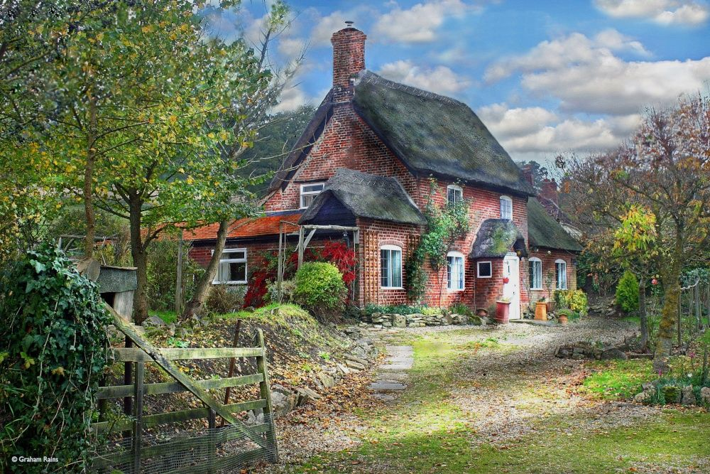 Early Autumn Sun On Brookside Cottage, Fiddleford