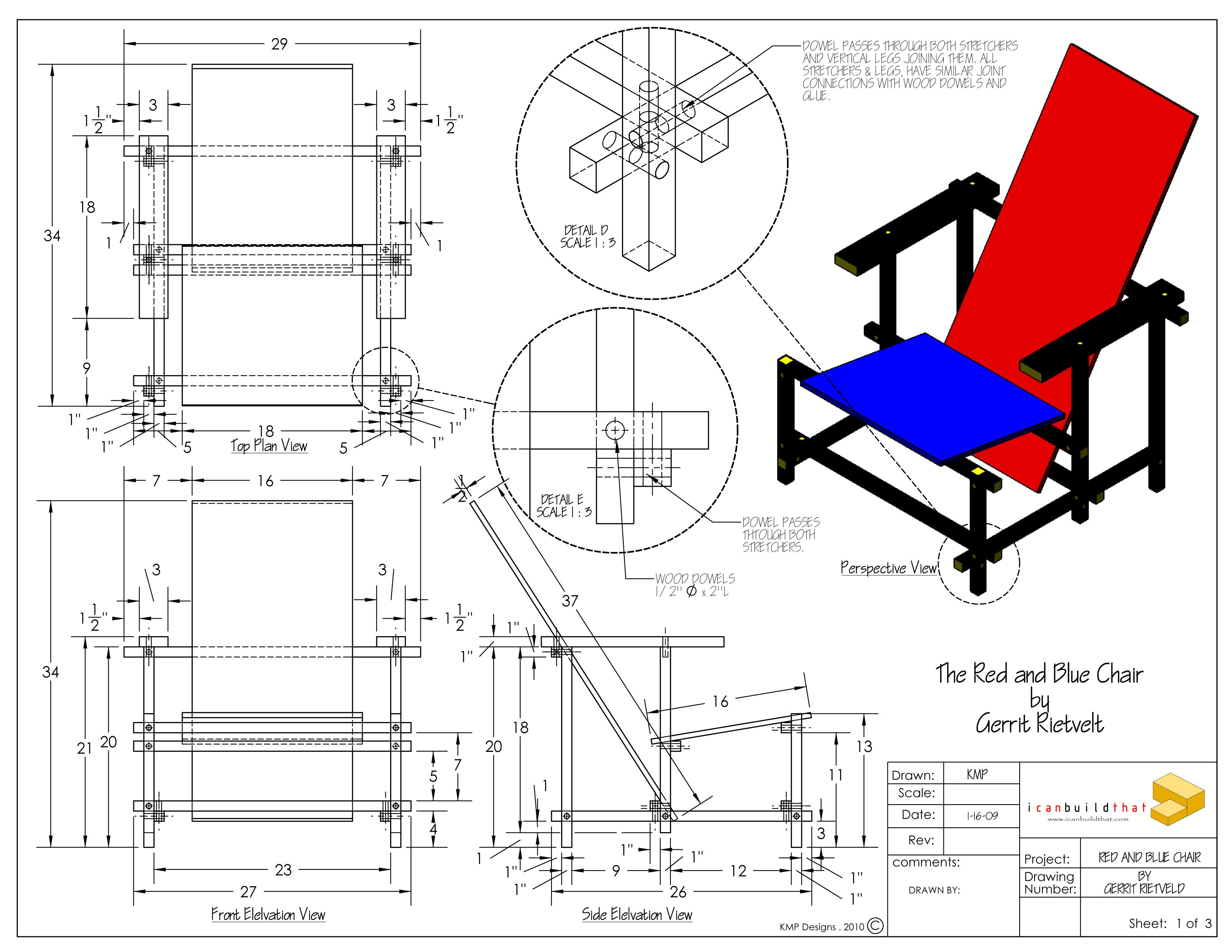 Diverse meubels van Gerrit Rietveld De stoel is van 1918 De vormen zijn geometrisch en Rietveld heeft de basiskleuren primaire kleuren gebruikt…