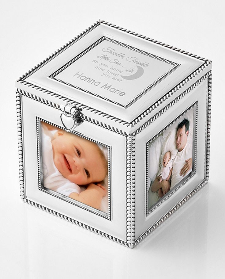 Our elegant personalized Silver Cube Frame holds 4 photos and has a large engraving plate on the top with ample space for your heartfelt message. With intricate rope details along the edges and a heart closure, this stylish frame also has space inside for keepsakes. Engrave names, a monogram or a very special message on the engraving plate to create the perfect gift!  https://www.thingsremembered.com/silver-cube-frame/product/348758?fcref=pinterest&beta=1