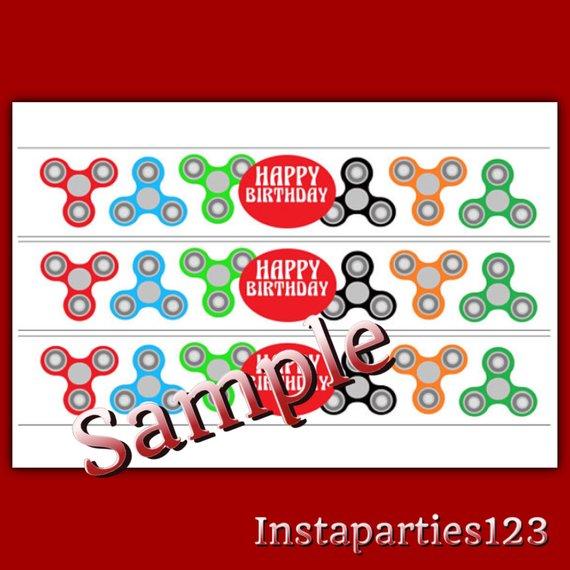 digital editable fidget spinner party water bottle labels 6 per page