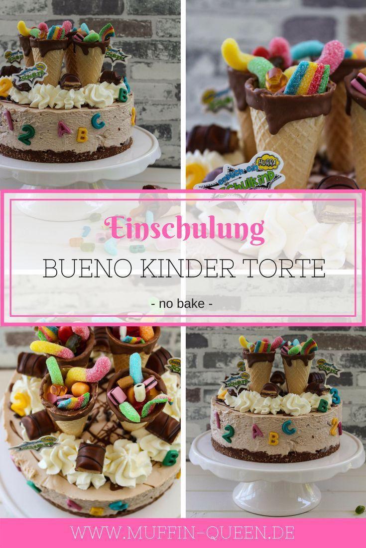 Einschulungstorte mit Manner Waffelboden und Bueno Kinderschokoladen Creme ...   - Einschulungstorten - süße Ideen für den Schulanfang -