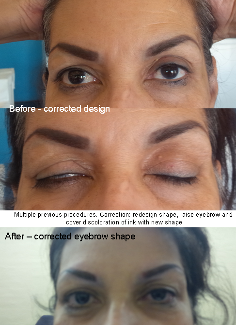 Corrective Work Reshape eyebrows and cover old