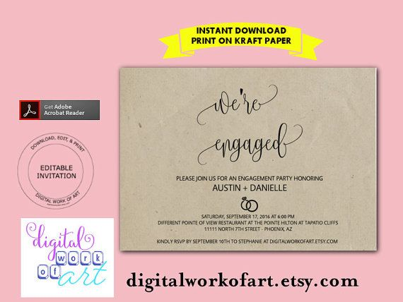 Engagement Party Invitation We're Engaged by digitalworkofart