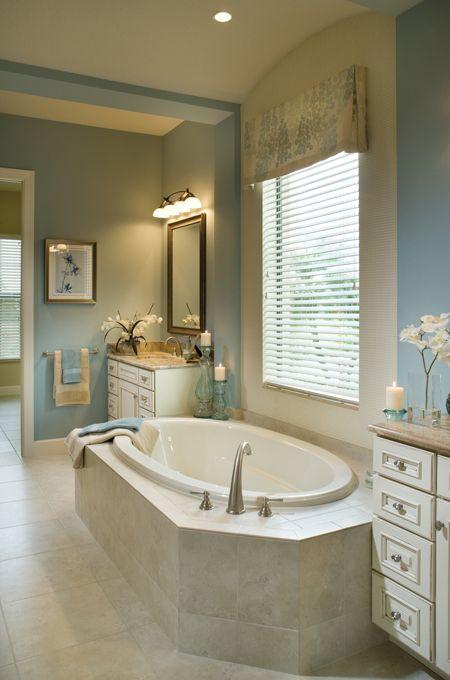 Rutenberg Punta Gorda Luxury Designer Home Blue Bathroom With Split Dual Vanities