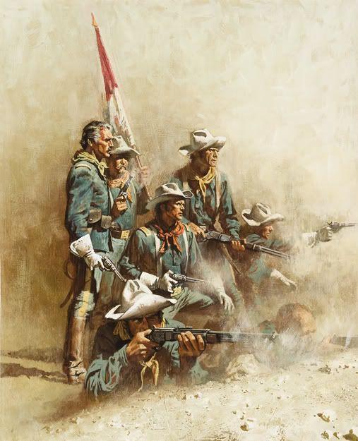 "Frank McCarthy painting - inspired by the 1948 RKO Radio motion picture, ""Fort Apache"" starring Henry Fonda & John Wayne."