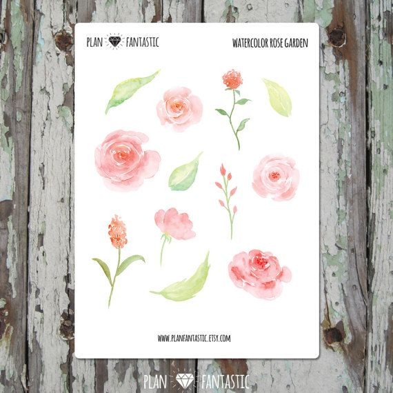 Watercolor Bullet Journal Stickers Rose Garden Planner Stickers